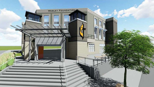Rendered image of the Wesley Foundation building