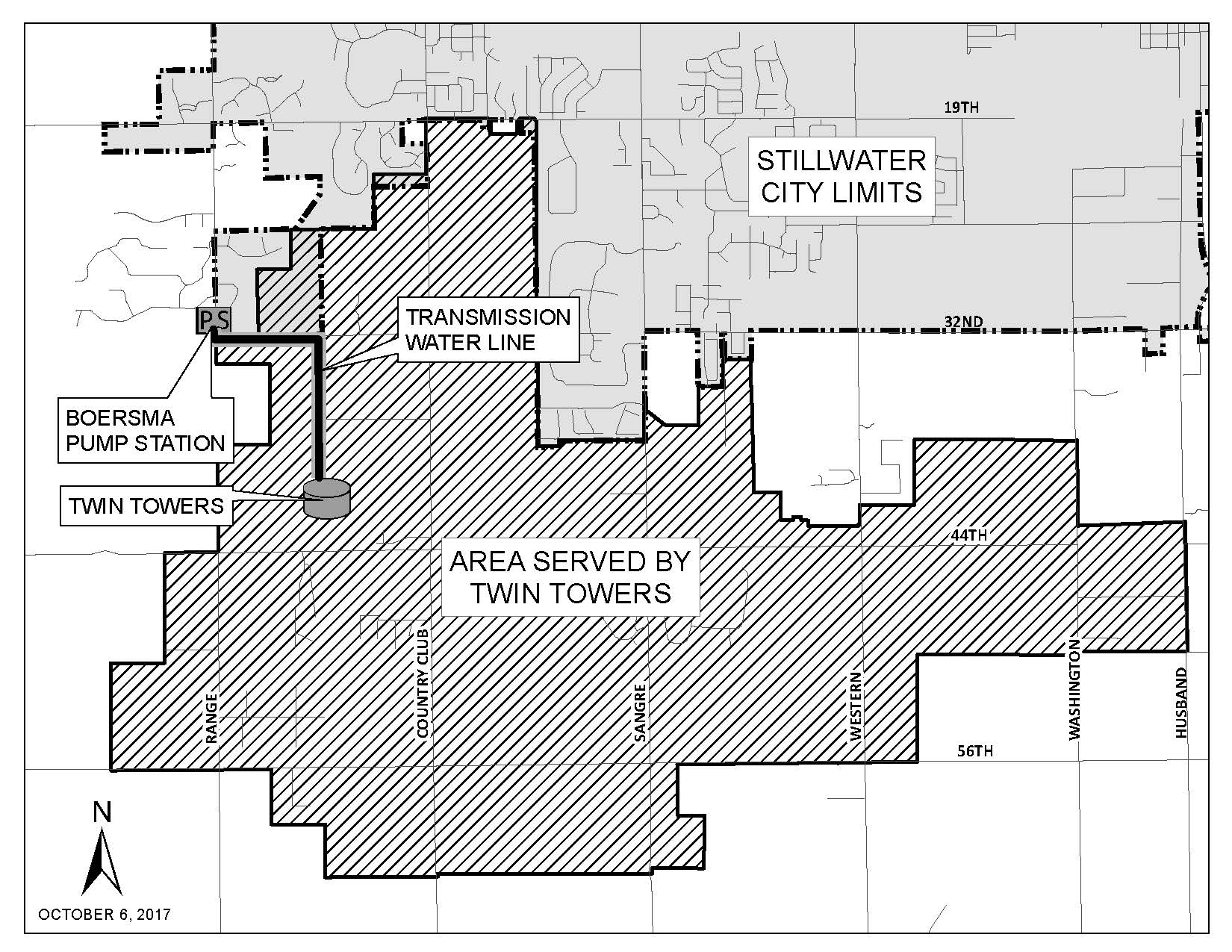 Map of Twin Towers zone, southwest of City Limits