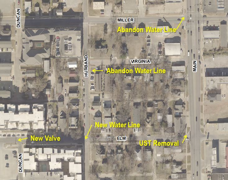 Aerial showing the locations of work between Duncan and Main, Miller and Elm.