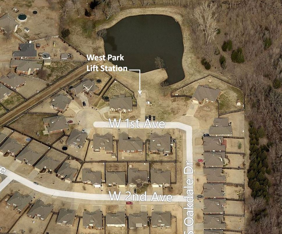 Aerial of West Park Lift Station. Located NW of 1st and Oakdale Dr.