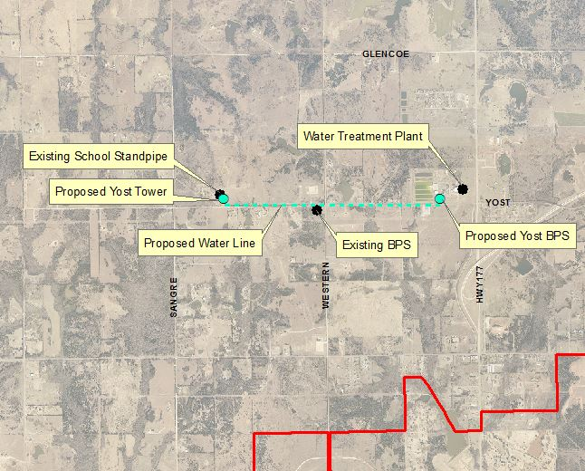 Overview map of existing School Tower and Yost BPS with location of new BPS, Tower and Water line.